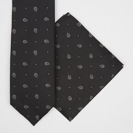 Paisley Silk Tie + Pocket Square // Black