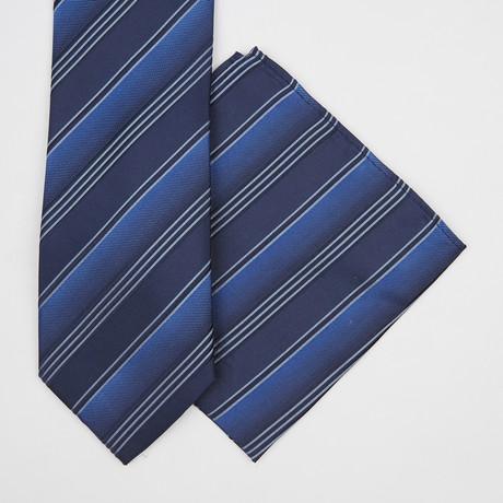 Striped Silk Tie + Pocket Square // Navy Blue