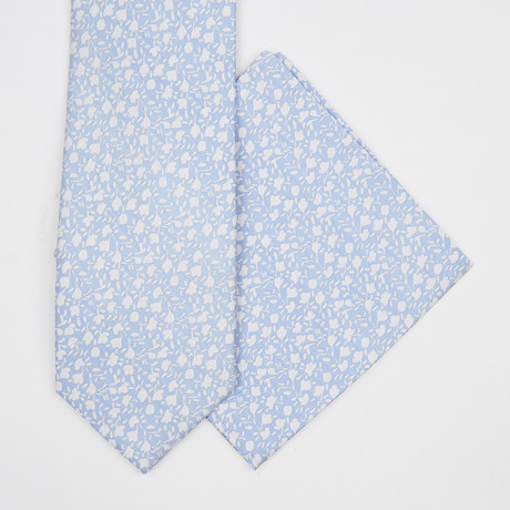 Floral Silk Tie + Pocket Square // Baby Blue
