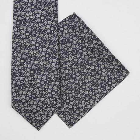 Floral Silk Tie + Pocket Square // Navy Blue