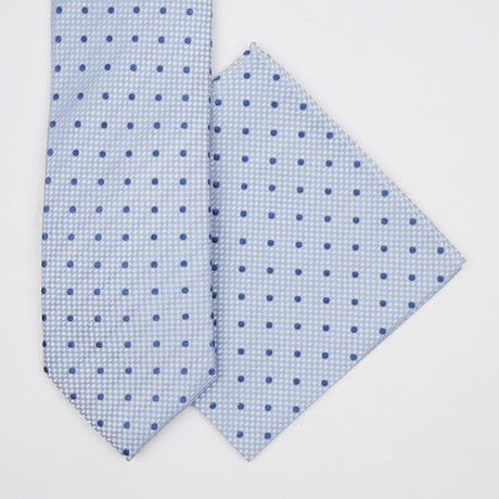 Dotted Silk Tie + Pocket Square // Baby Blue