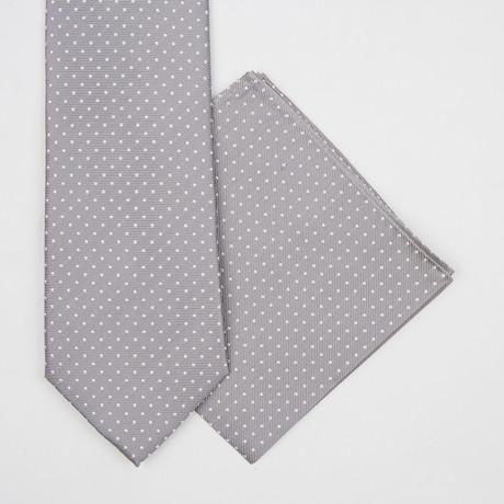 Mini Dotted Silk Tie + Pocket Square // Grey
