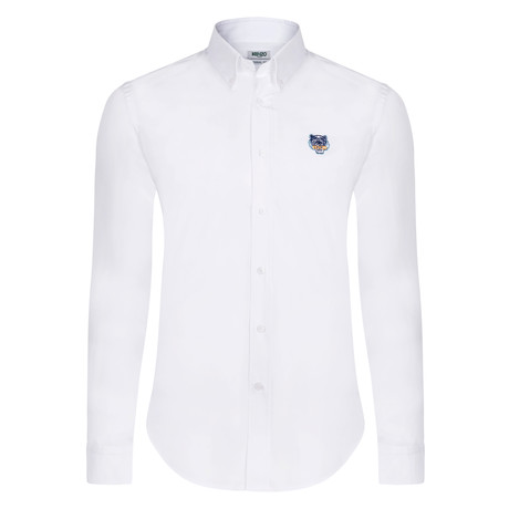 Kenzo Tiger Crest Dress Shirt // White (S)