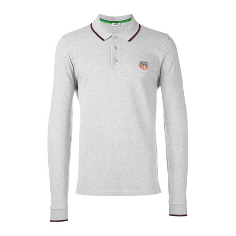 Kenzo Tiger Long Sleeve Polo // Grey (S)