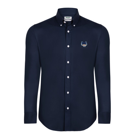 Kenzo Tiger Crest Dress Shirt // Navy Blue (S)