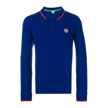 Kenzo Tiger Long Sleeve Polo // Blue (S)