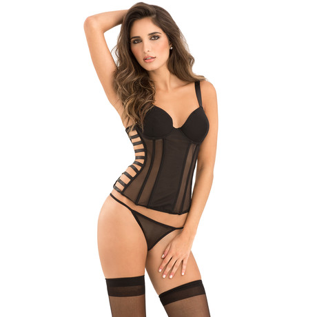 Caged Side Bustier + G String + Thigh High // Black (Small)