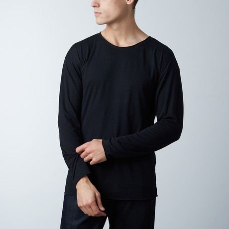 Long Sleeve Raw Hem Tee // Black (S)