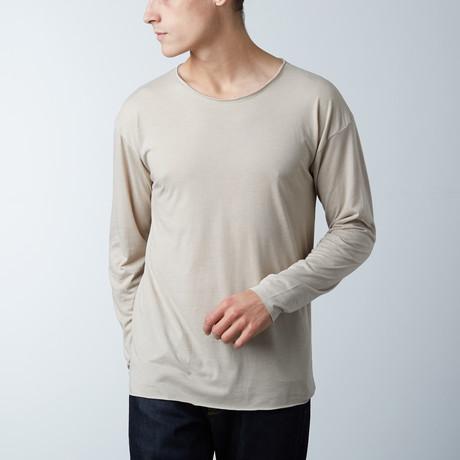 Long Sleeve Raw Hem Tee // Khaki (S)
