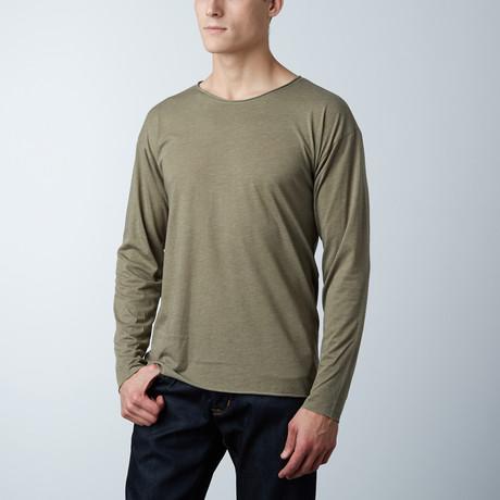 Long Sleeve Raw Hem Tee // Olive (S)