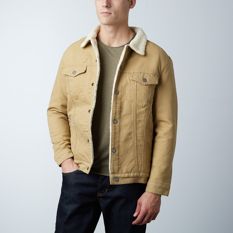 Bull Denim Borg Lined Jacket // Wheat (S)