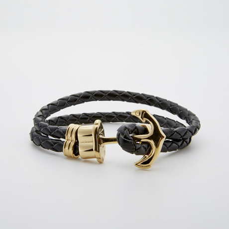 Jean Claude Jewelry // Anchor Hook Leather Bracelet // Black + Gold