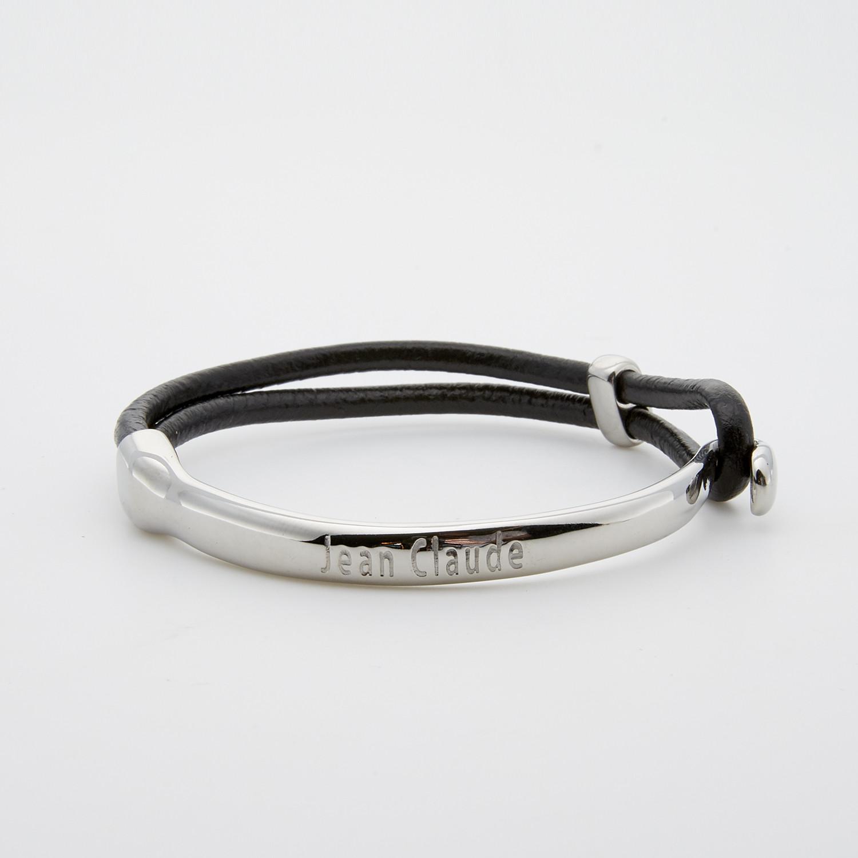 Leather Stainless Steel Hook Bracelet Silver