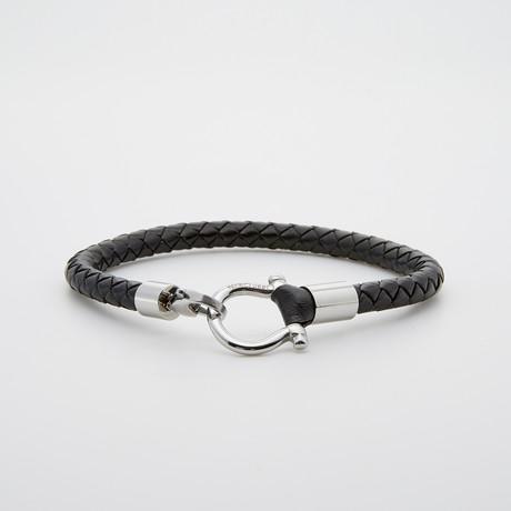 """D"" Clamp Leather + Steel Bracelet // Black + Silver"