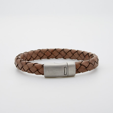 Woven Leather Clasp Bracelet // Brown