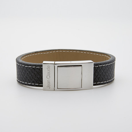 Wide Stitched Leather + Stainless Steel Closure Bracelet // Black