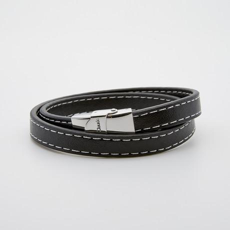 Jean Claude Jewelry // Top Stitch Double Wrap Leather Bracelet // Black