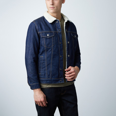 Raw Denim Borg Lined Jacket // Blue (S)