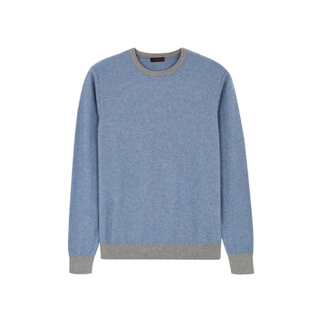 Contrast Crew Neck Pullover // Sky Blue (S)