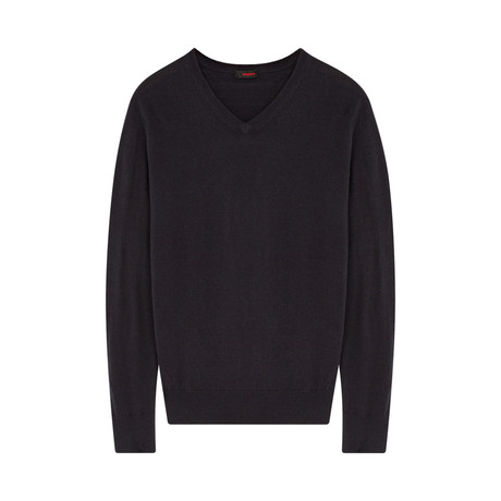Wool Pullover V-Neck // Navy (S)