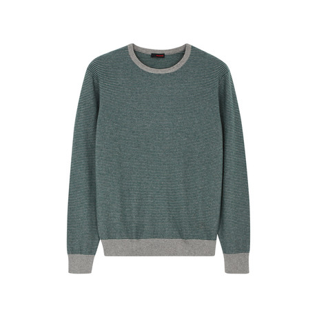 Contrast Crew Neck Pullover // Spruce Green (S)