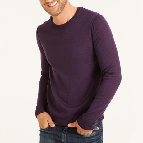 Solid Crew Neck Pullover // Purple (S)