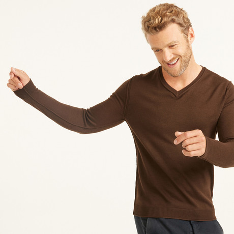 V-Neck Pullover // Brown (S)