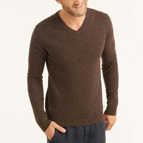 V-Neck Pullover // Dark Brown (S)