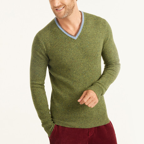 Contrast V-Neck Collar Pullover // Green (M)