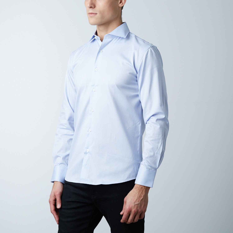 Luca Baretti Modern Fit Shirt Light Blue Pinstripe