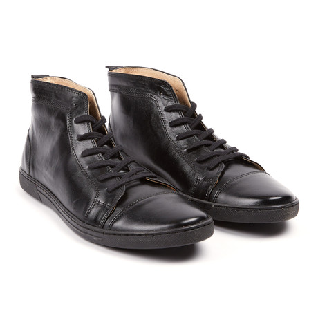 Nerino Leather High Top Sneaker // Black (UK: 6.5)