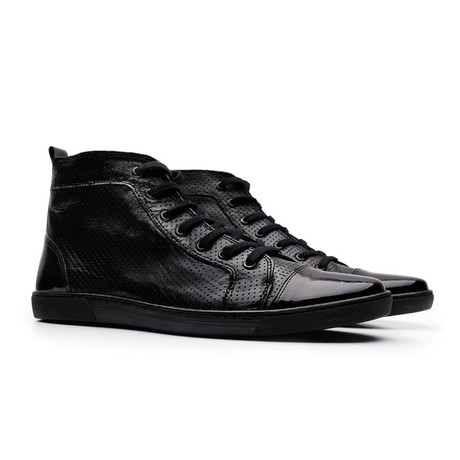 Venice Leather High Top Sneaker // Black (UK: 6.5)
