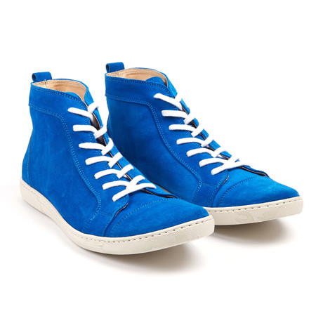 Suede High Top Sneakers // Cobalt (UK: 6.5)