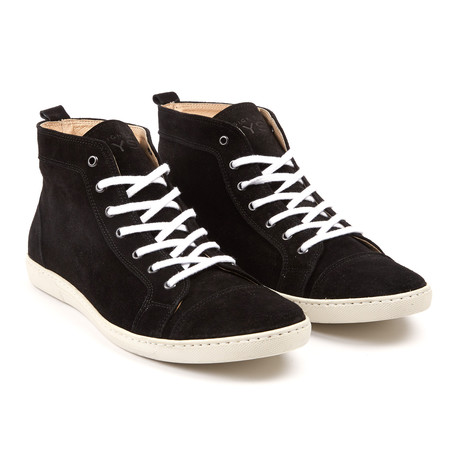 Suede High Top Sneakers // Black (UK: 6.5)