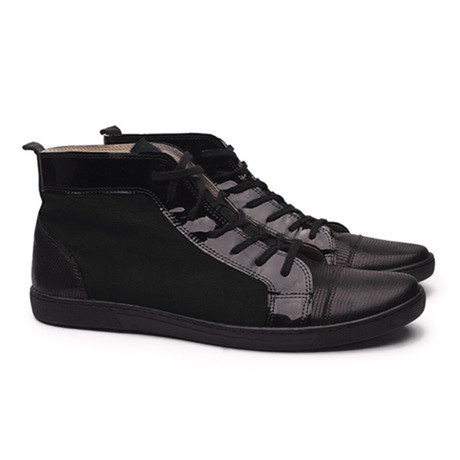 Mexico Suede Textured High Top Sneaker // Black (UK: 6.5)