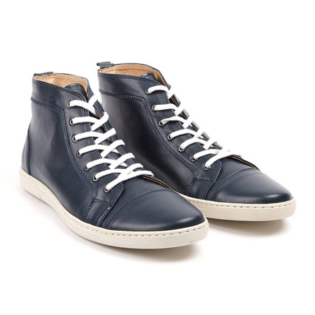 Cap Toe High Top Sneaker // Navy Blue (UK: 6.5)