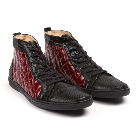 Vernon Quilted High Top Sneaker // Black + Red (UK: 6.5)