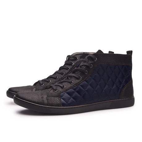 Vernon Quilted High Top Sneaker // Black + Navy Blue (UK: 6.5)