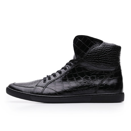 Croc Embossed Leather High Top Sneaker // Black (UK: 6.5)