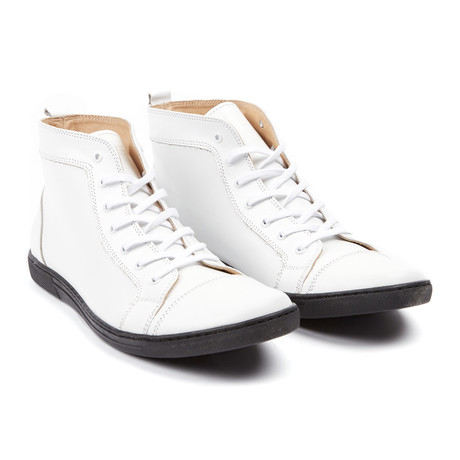 Stitched High Top Sneaker // White (UK: 6.5)