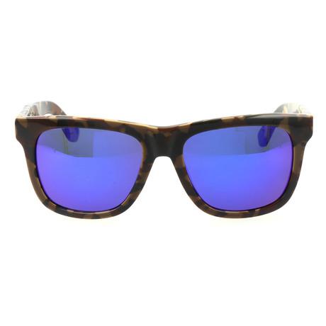 Unisex Madrid Sunglass // Brown Speckle + Blue Mirror