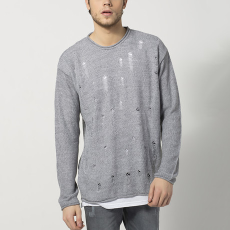 Distressed Roll-Hem Sweater // Grey (S)