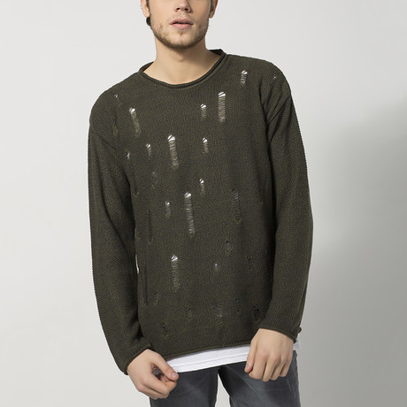 Distressed Roll-Hem Sweater // Khaki (S)