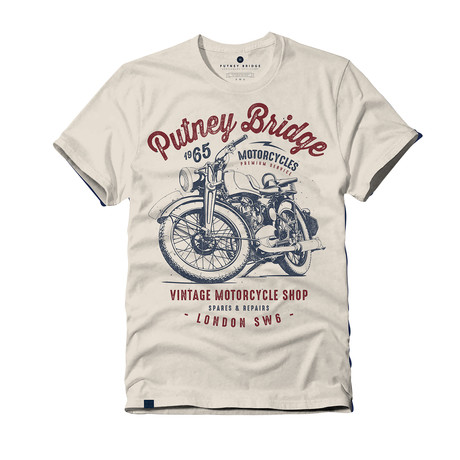 Motorcycle Shop T-Shirt // Vintage White (S)