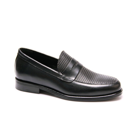 Textured Penny Loafer // Black (Euro: 39)
