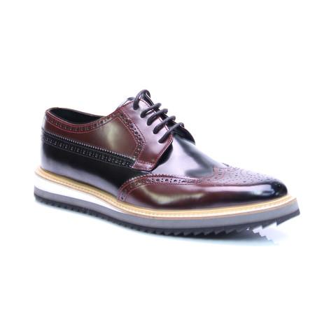 Medallion Wing-Tip Shoe // Bordeaux + Black (Euro: 39)