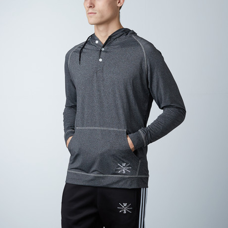 Ringside Fitness Tech Henley Hooded Pullover // Charcoal (S)