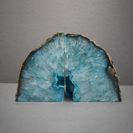 Agate Bookends // Teal A Quality // Set of 2 (Medium)
