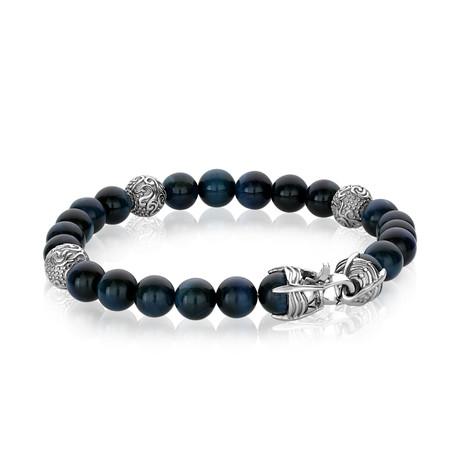 "Steel Claw Clasp Tiger Eye Beaded Bracelet // Blue // 8.2""L"