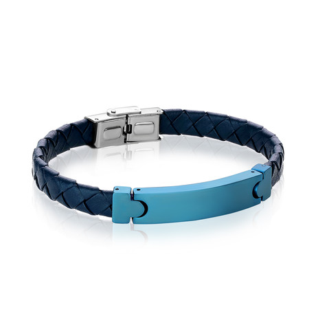 Plated ID Leather Bracelet // Blue